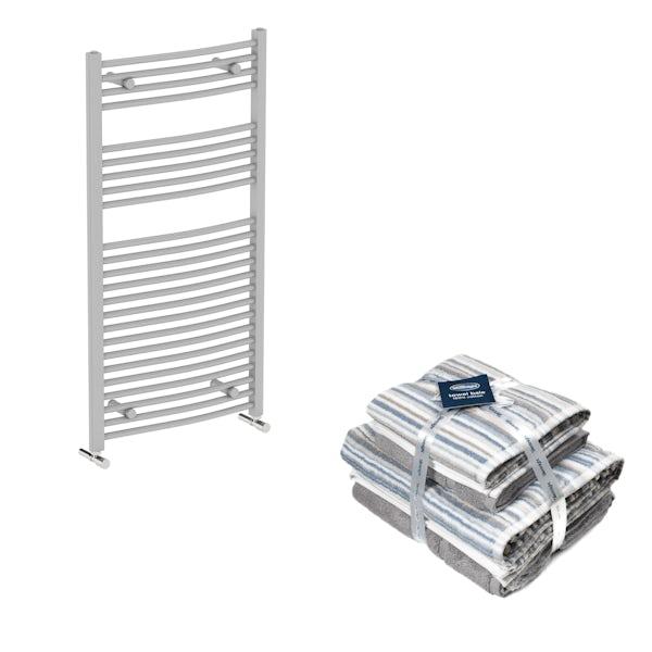 Orchard Elsdon stone grey heated towel rail 1150x600 with Silentnight Zero twist grey 4 piece towel bale