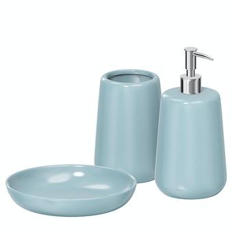 Accents Moon soft blue 3pc bathroom accessory set