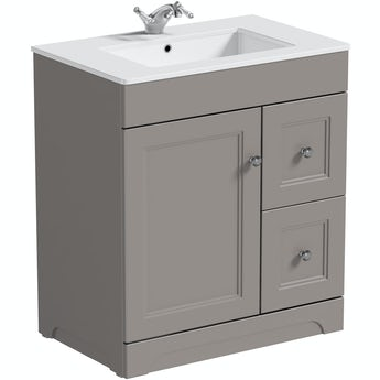 The Bath Co. Winchester graphite grey floorstanding vanity unit and quartz-top basin 760mm
