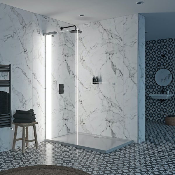 Mode Hale 8mm left handed LED walk in shower enclosure pack with stone shower tray