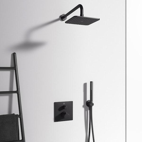Ideal Standard Ceratherm silk black T100 square thermostatic shower valve