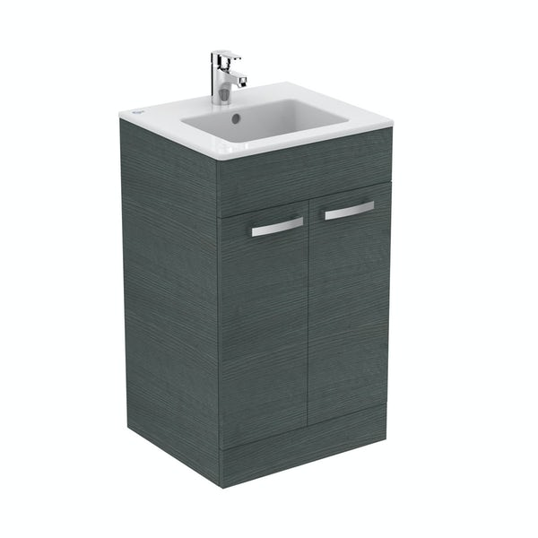 Ideal Standard Tempo sandy grey vanity door unit with 1 tap hole basin 500mm