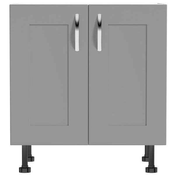 Schön New England light grey double door shaker base unit