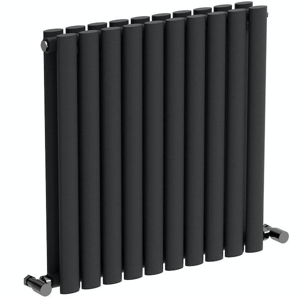 Mode Tate anthracite grey double horizontal radiator 600 x 600