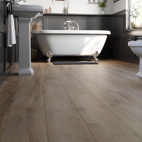 Athabasca natural oak plank water resistant laminate flooring 8mm