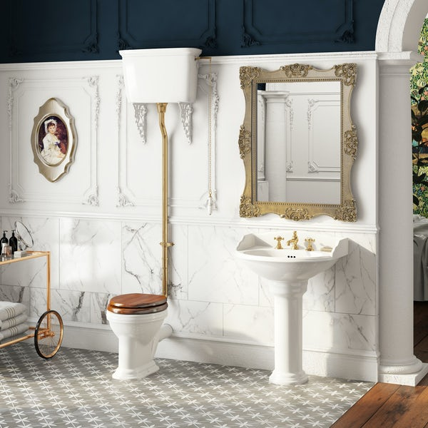 The Bath Co. Bellini high level toilet and full pedestal suite with incalux fittings and taps