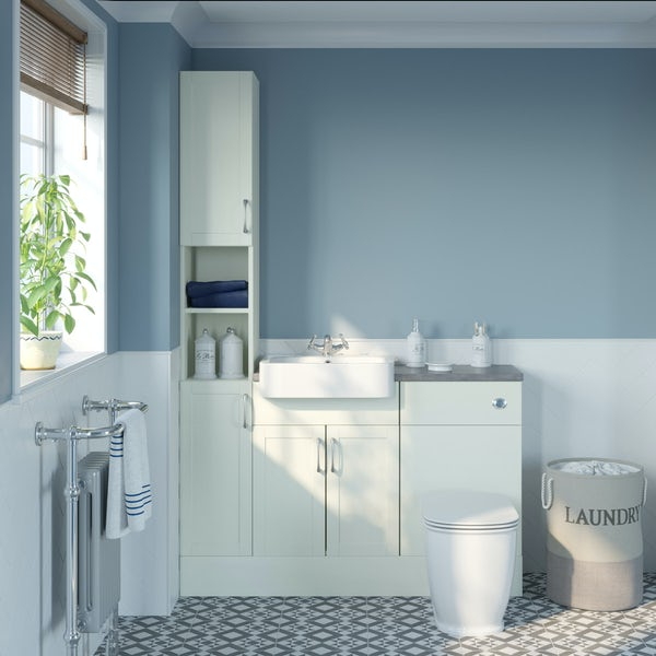 The Bath Co. Newbury white tall fitted furniture combination with mineral grey worktop