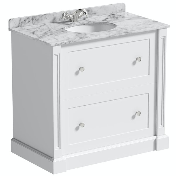 The Bath Co. Burghley matt white floorstanding vanity unit and white marble basin 900mm