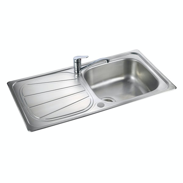 Rangemaster Baltimore 1.0 bowl reversible kitchen sink with waste kit