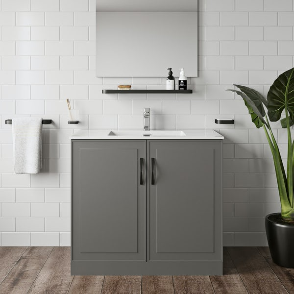 Mode Meier grey floorstanding vanity unit 900mm