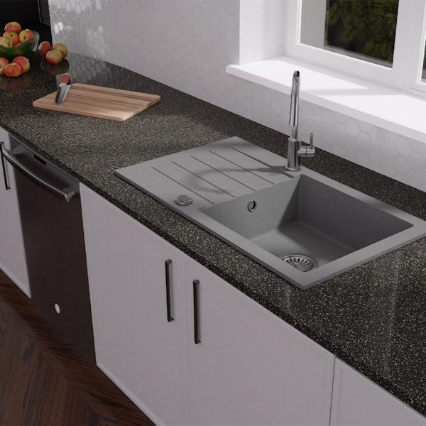 Schon Arola Cobblestone 1.0 bowl reversible countertop kitchen sink