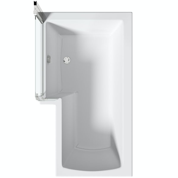 Mode L shaped left handed shower bath with 8mm hinged shower screen