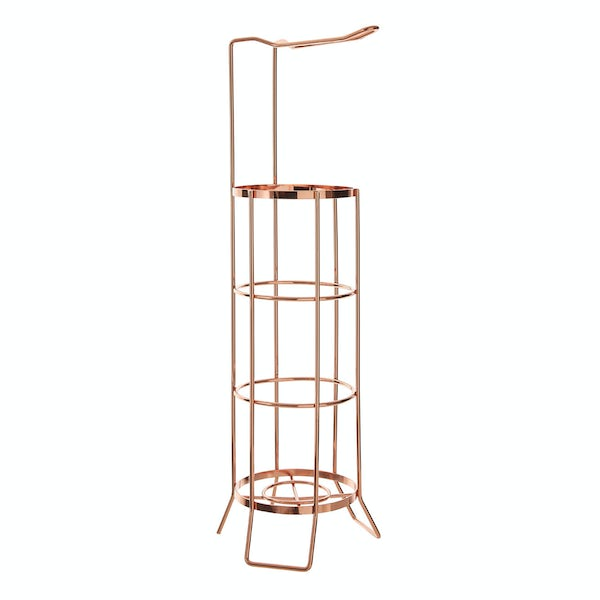Rose gold wire toilet roll holder and storage