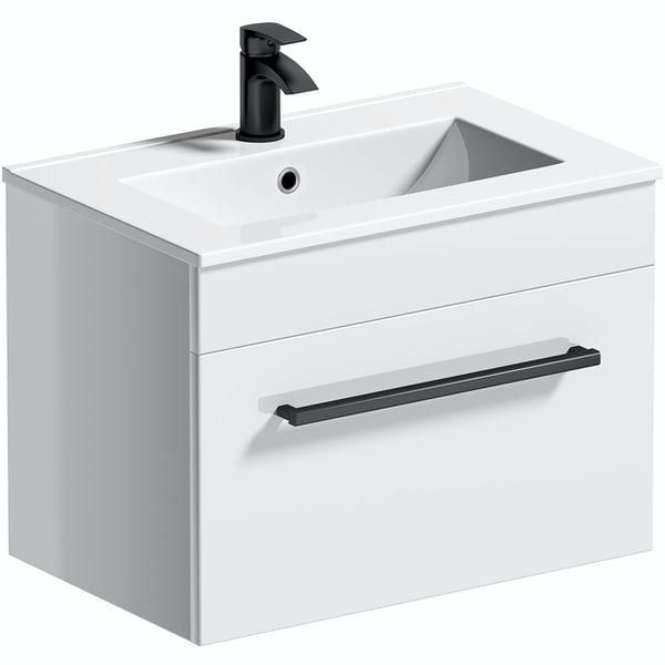 Orchard Derwent white wall hung vanity unit with black handleand ceramic basin 600mm