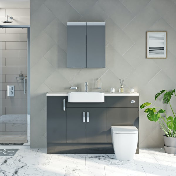 Mode Nouvel gloss grey small fitted furniture & mirror combination with white worktop
