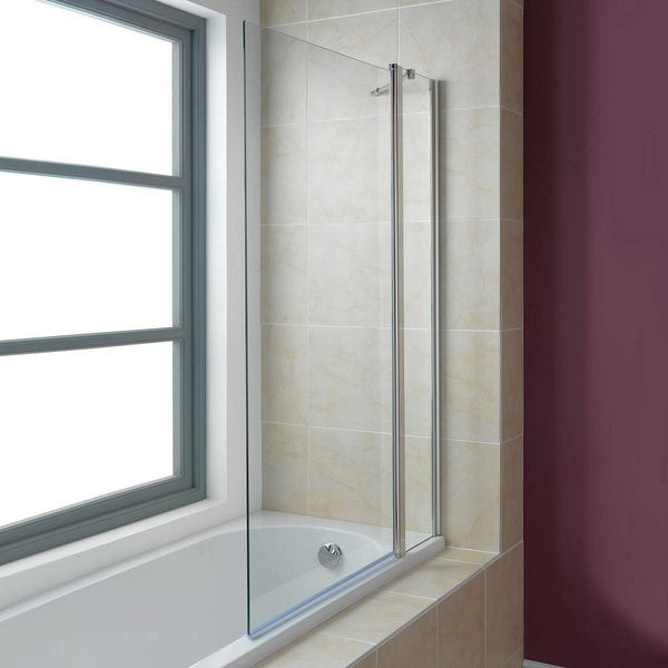 Orchard 6mm hinged panel straight shower bath screen