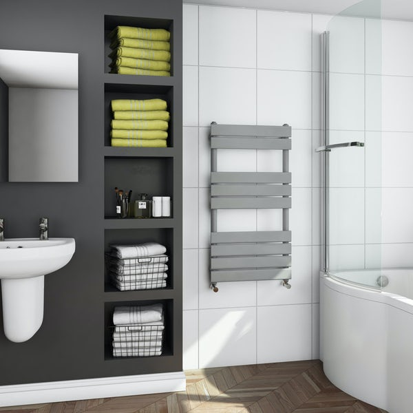Orchard Wharfe stone grey heated towel rail 950 x 500