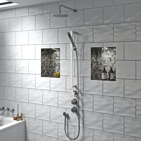 Mode Hardy thermostatic shower valve with slider rail and wall shower set