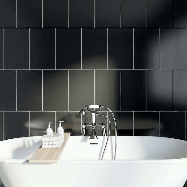 Studio Conran plain black field tile 248mm x 398mm