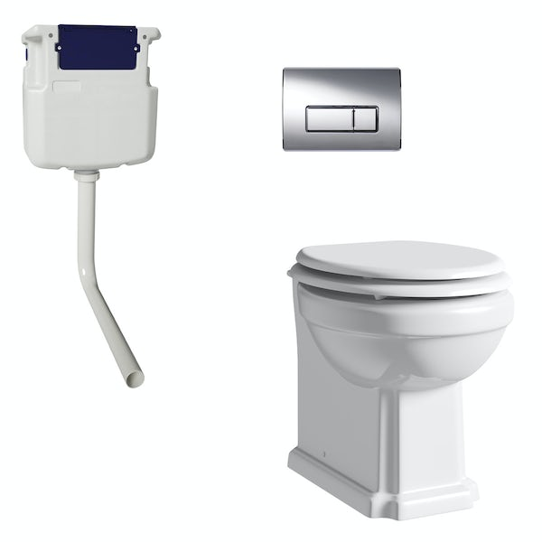 The Bath Co. Camberley back to wall toilet with white soft close seat, concealed cistern and push plate