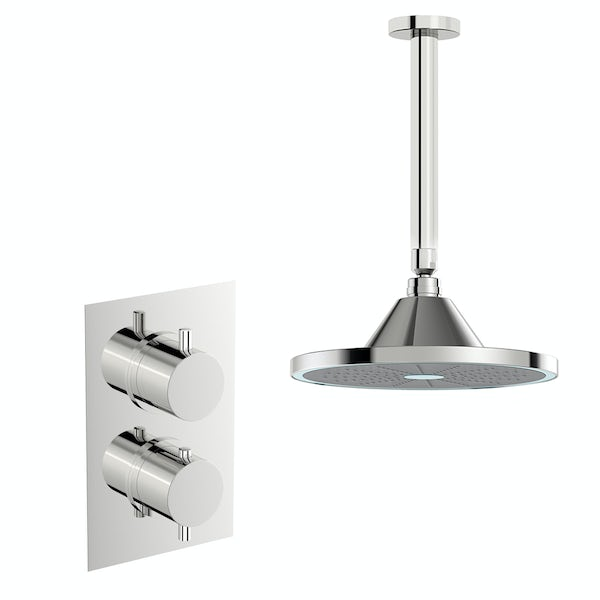 Mode Harrison twin concealed mixer shower with LED head and ceiling arm