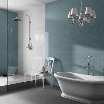 Bordeaux blue flat gloss wall tile 200mm x 457mm