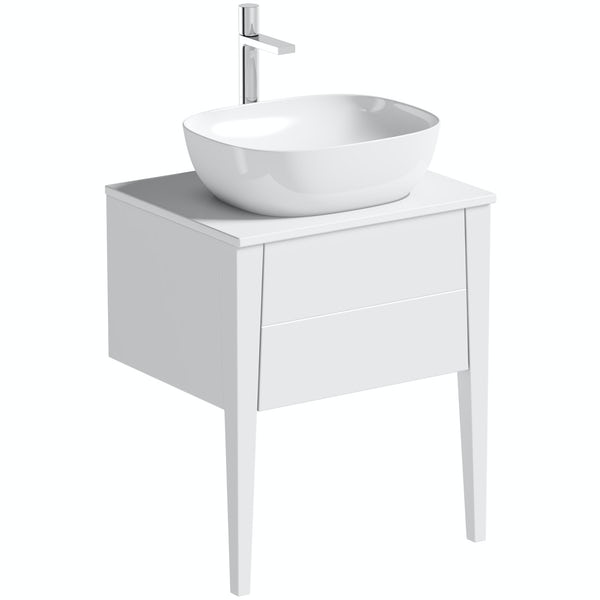 Mode Hale white gloss furniture package with countertop vanity unit 600mm