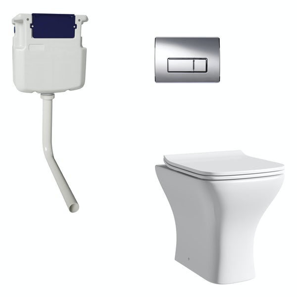 Orchard Derwent square back to wall toilet with soft close seat, concealed cistern and push plate