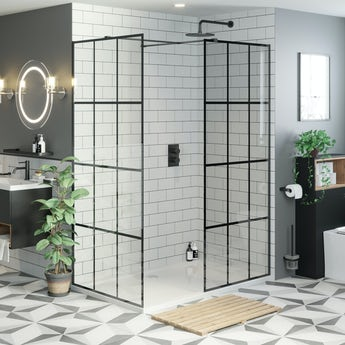 Mode 8mm black framed enclosure pack with stone shower tray
