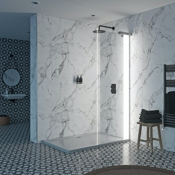 Mode Hale 8mm right handed LED walk in shower enclosure pack with stone shower tray