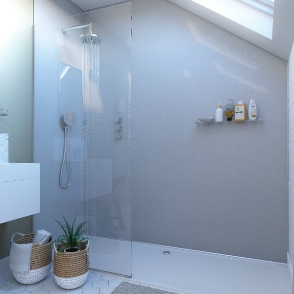 Showerwall White Sparkle waterproof proclick shower wall panel
