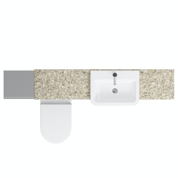 Orchard Wharfe slate matt grey straight medium storage fitted furniture pack with beige worktop