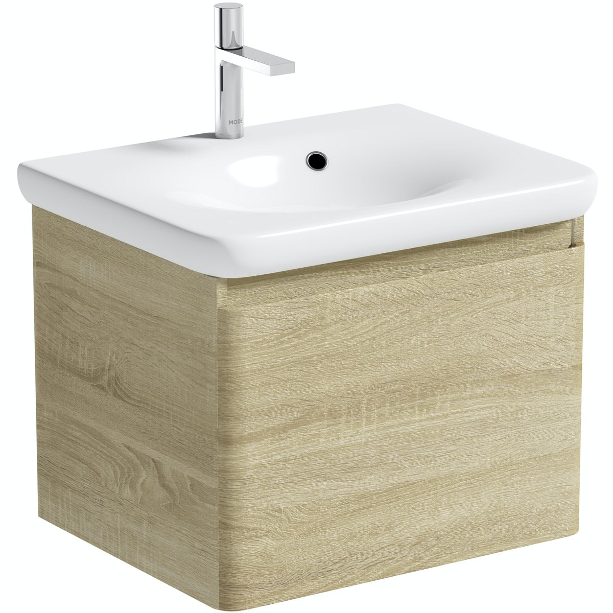 Mode Heath oak wall hung vanity unit and basin 600mm