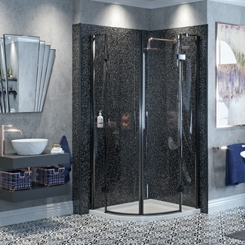 Mode Cooper black hinged quadrant shower enclosure with Spencer rose gold shower set and tray 900 x 900