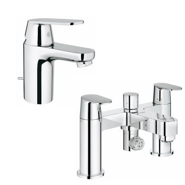 Grohe Eurosmart Cosmopolitan basin and bath shower mixer tap pack ...