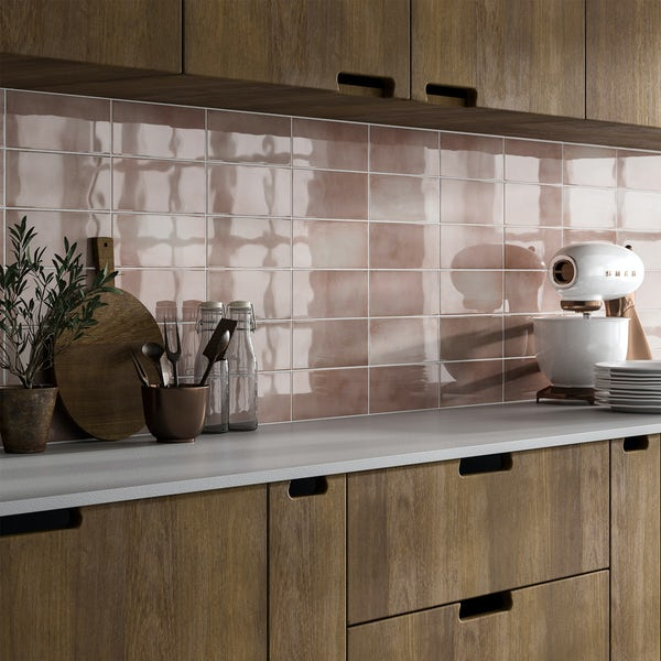 Verona rose glazed gloss wall tile 100mm x 200mm