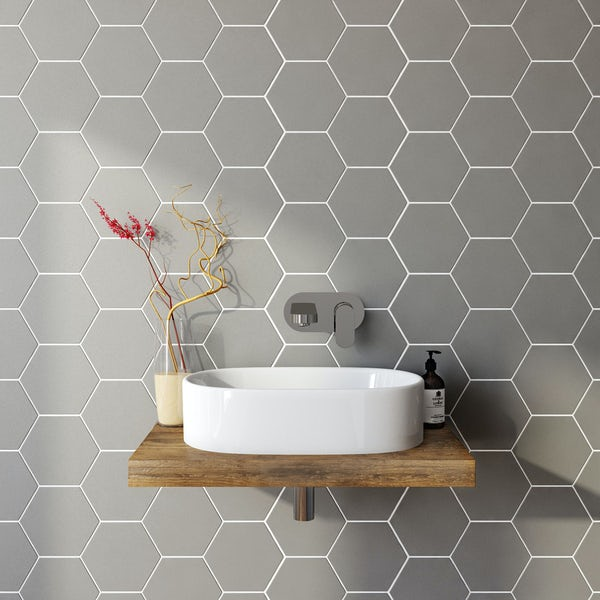 British Ceramic Tile Hex Grey Matt Tile 175mm X 202mm