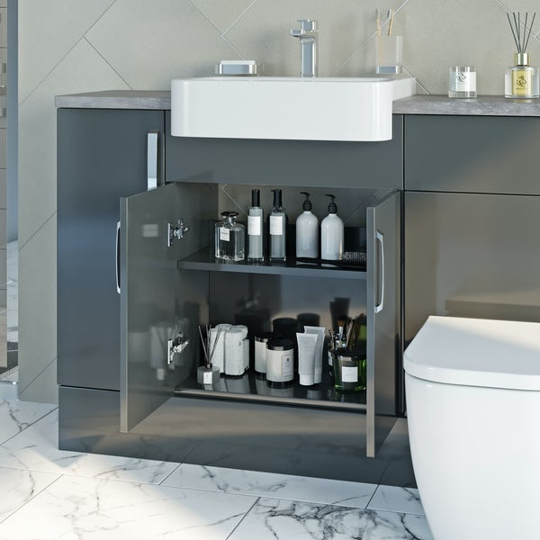 Mode Nouvel gloss grey tall fitted furniture & mirror combination with mineral grey worktop
