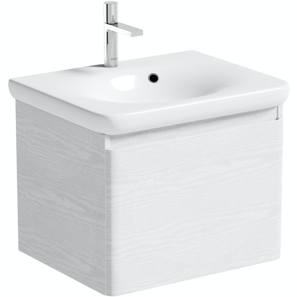 Mode Heath white LED wall hung vanity unit and basin 600mm