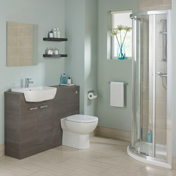 Ideal Standard Tempo sandy grey back to wall unit, concealed cistern, push button and toilet with soft close seat