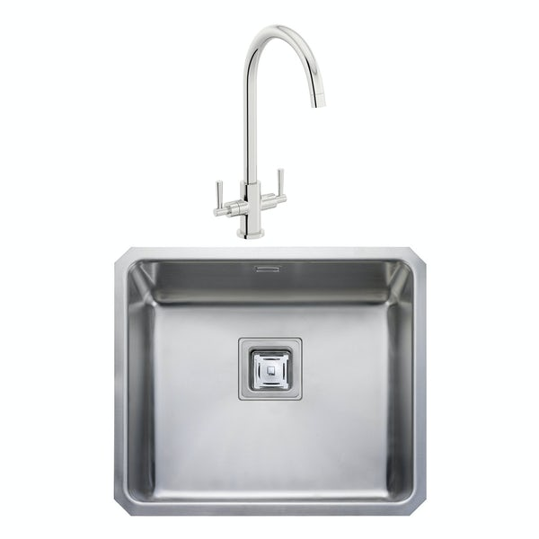 Rangemaster Atlantic Quad 1.0 bowl undermount kitchen sink with waste and Schon C spout WRAS kitchen tap