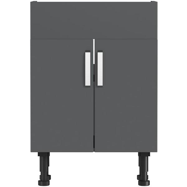 Mode Nouvel gloss grey vanity unit 600mm