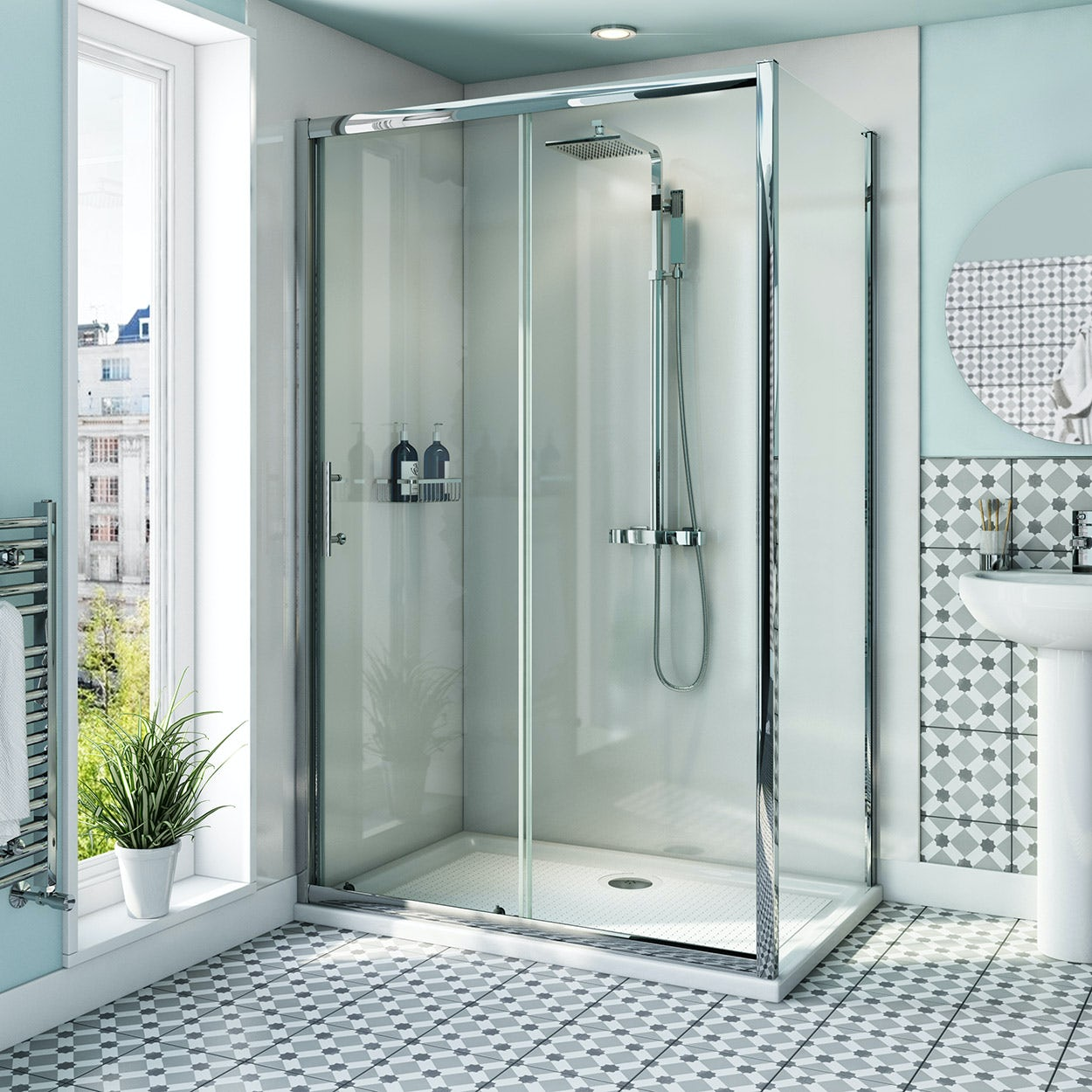 Orchard 6mm sliding shower enclosure with anti-slip tray 1000 x 700