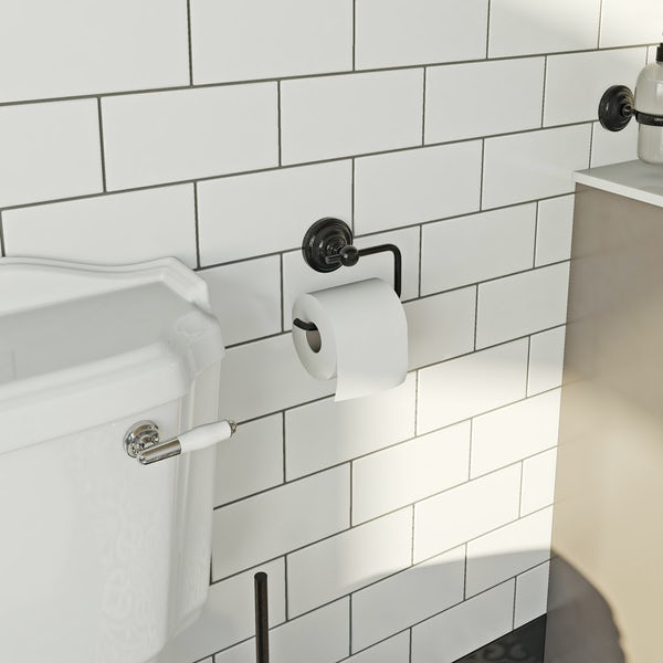 The Bath Co. 1805 black toilet roll holder