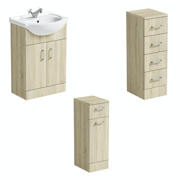 Orchard Eden oak vanity unit and ceramic basin 550mm with multi-drawer storage unit and linen basket