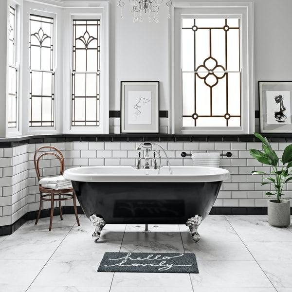 The Bath Co. Winchester black handle basin mixer and bath shower mixer tap pack