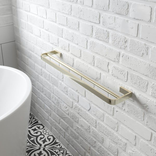 Mode Spencer gold double towel rail 600mm