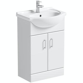 Orchard Eden white floorstanding vanity unit and ceramic basin 550mm