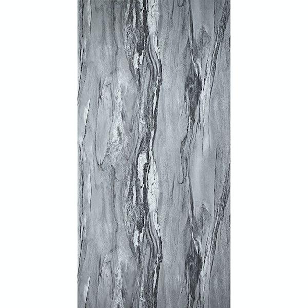 Showerwall Grey Volterra Gloss waterproof shower wall panel