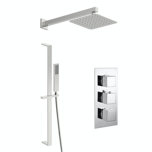 Kirke Connect concealed thermostatic mixer shower with wall arm and slider rail
